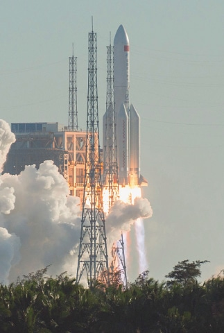 The rocket lifts off from Wenchang, on China's southern Hainan island.—AFP