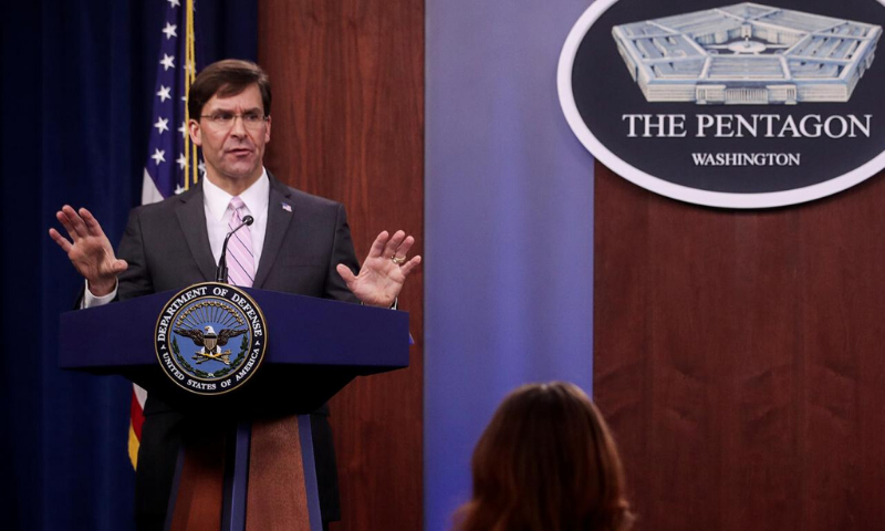 In this file photo, US Defence Secretary Mark Esper takes questions during a news conference at the Pentagon in Arlington, Virginia. — Reuters
