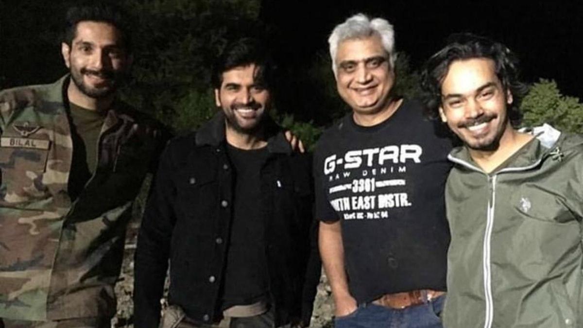 In a BTS shot from Yalghaar. Pictured: Bilal Ashraf, Humayun Saeed, Hassan Waqas Rana and Gohar Rasheed.