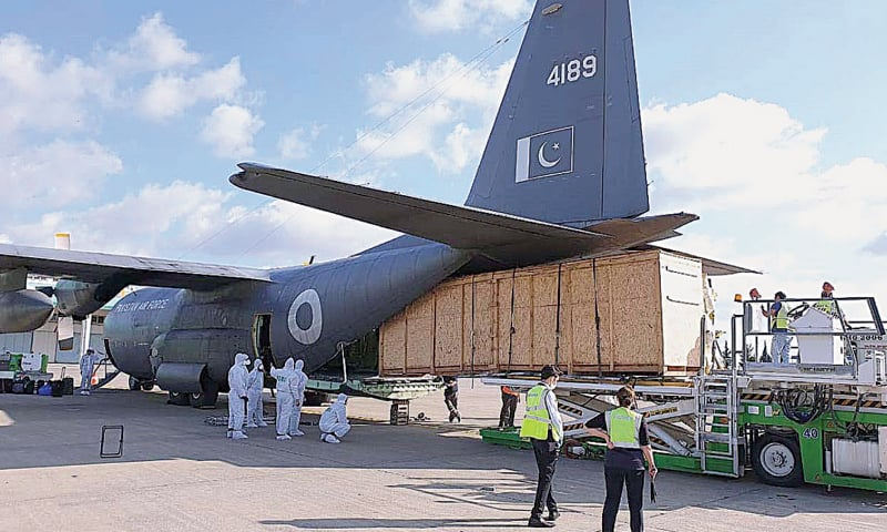 A Pakistan Air Force C-130 aircraft being loaded with Piper Brave spray at Adana in Turkey before departure for Pakistan. The spray aircraft will be assembled before its departure for locust-infested areas in the country, especially in Sindh and Punjab, and would be used to fight the locust onslaught on various crops and cultivable lands. The aircraft arrived in Pakistan on Wednesday.—APP