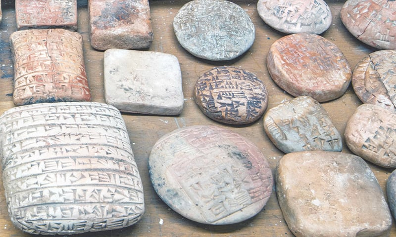LONDON: An undated handout picture from the British Museum shows fake cuneiform tablets that were seized at Heathrow airport last year.—AFP
