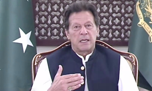 Prime Minister Imran Khan addresses the nation on Thursday. — DawnNewsTV