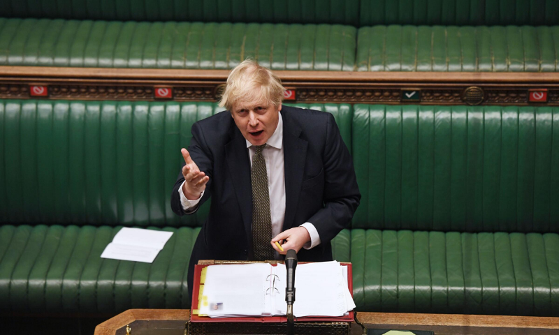 Britain's Prime Minister Boris Johnson speaks during the weekly question time debate in Parliament in London, Britain May 6. — Reuters
