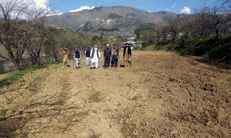 محکمہ زراعت کے عہدیداروں اور ڈپٹی کمشنر کے دفتر پر مشتمل ایک ٹیم ضلع مانسہرہ کے علاقے دربند میں جنگلی سواروں کے ذریعہ تباہ شدہ کھیتوں کا جائزہ لے رہی ہے—فوٹو: عدیل سعید