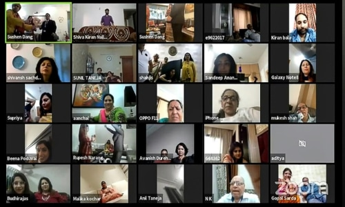 Friends and relatives of Sushen Dang and Keerti Narang took part in the wedding celebrations online due to the coronavirus lockdown. — AFP