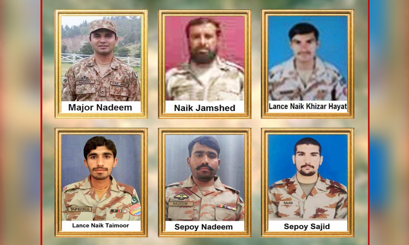 The martyred were identified as Major Nadeem, Naik Jamshed, Lance Naik Khizar Hayat, Lance Naik Taimor, Sepoy Nadeem and Sepoy Sajid. —  Photo courtesy ISPR