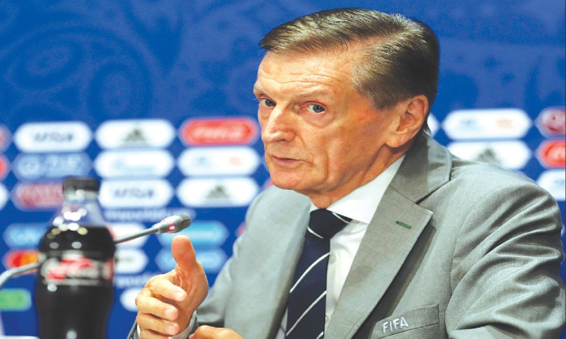 ANDY Roxburgh, the AFC Technical Director, gestures during a news conference of the 2018 FIFA World Cup Technical Study Group in Moscow on July 12, 2018.