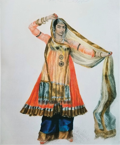 Lallji or Hulas Lal, 'The Dancing Girl Malaguire in her Nautch Dress', Fraser album, Delhi, 1815 (Collection of Prince and Princess Sadruddin Aga Khan)