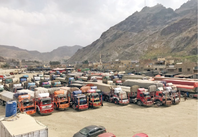 A large number of trucks await customs clearance at Torkham border on Sunday. — Dawn