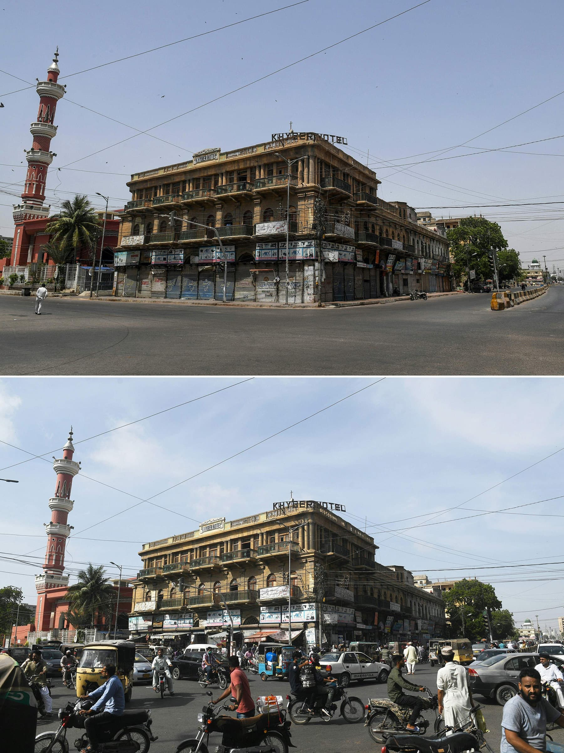 This combination of pictures shows (up) a man walking on a deserted street near a closed mosque during a government-imposed nationwide lockdown in Karachi on April 24, and (bottom) commuters making their way along the same street after the government eased the lockdown on May 11. — AFP