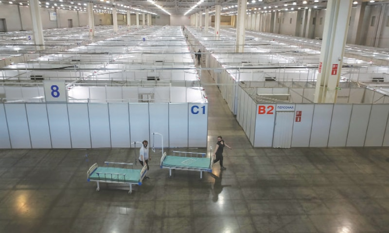 Moscow: An interior view shows a pavilion of Crocus exhibition centre following the decision of local authorities to turn it into a temporary hospital amid the coronavirus disease outbreak.—Reuters
