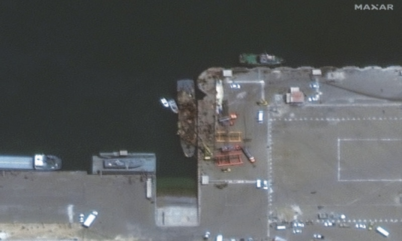 A satellite image shows an Iranian vessel Konarak, damaged in an aftermath of a friendly-fire anti-ship missile accident in a port city of Konarak  on Monday.—Reuters