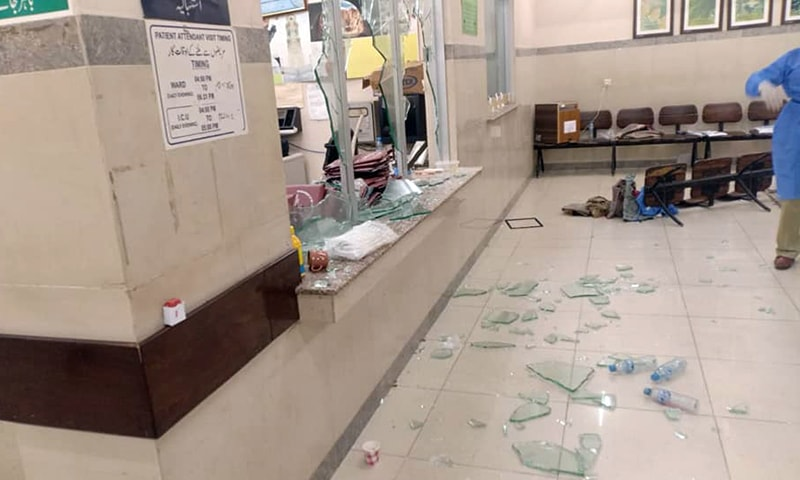 Glass strewn on the floor of the ward. — Photo: Facebook