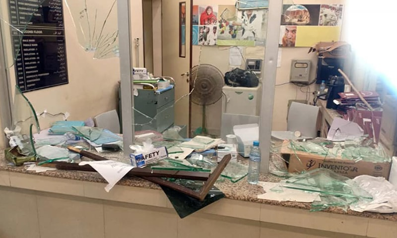A broken glass counter is seen at the vandalised JPMC ward. — Photo: Facebook