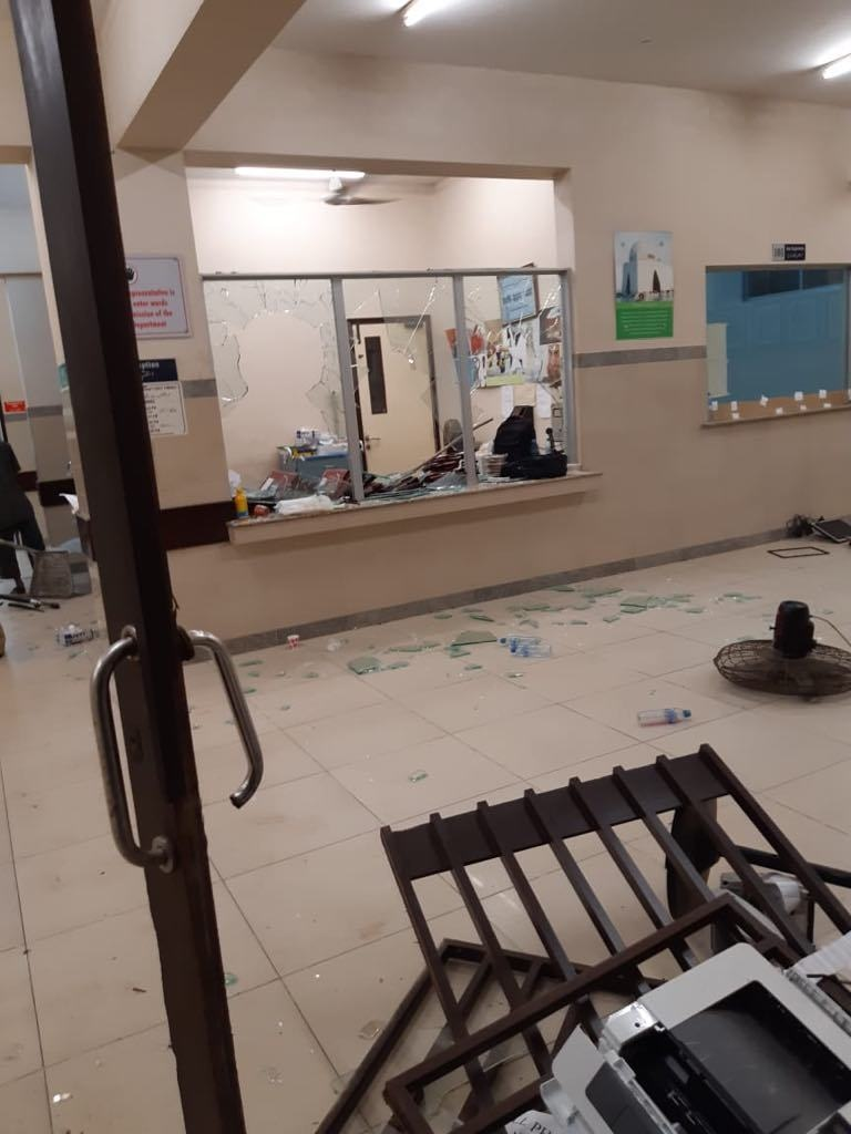 A view of the vandalised ward. — Photo: JPMC admin