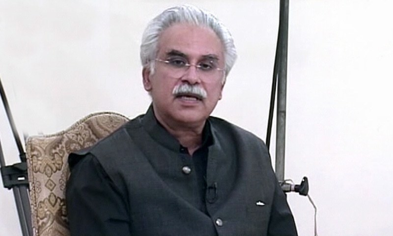 Dr Zafar Mirza addressing the nation on Friday. — DawnNewsTV