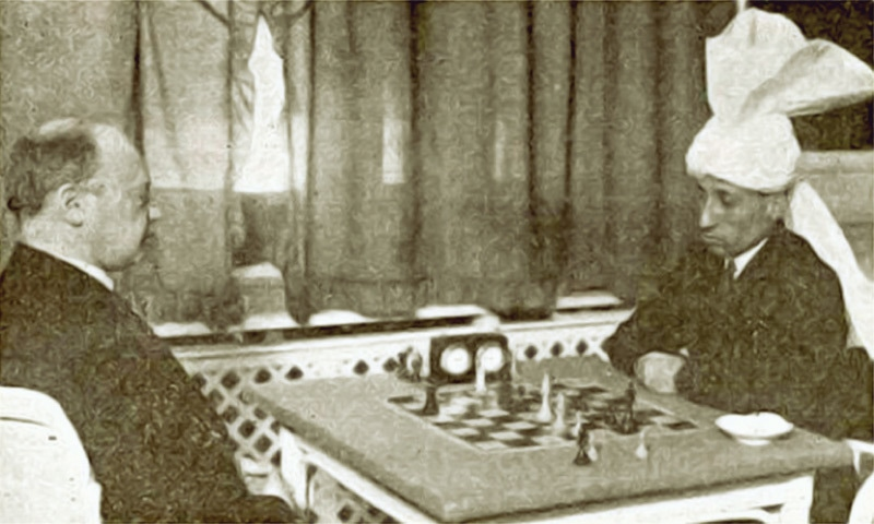 While playing against Savielly Tartakower at Semmering, Austria (1931)