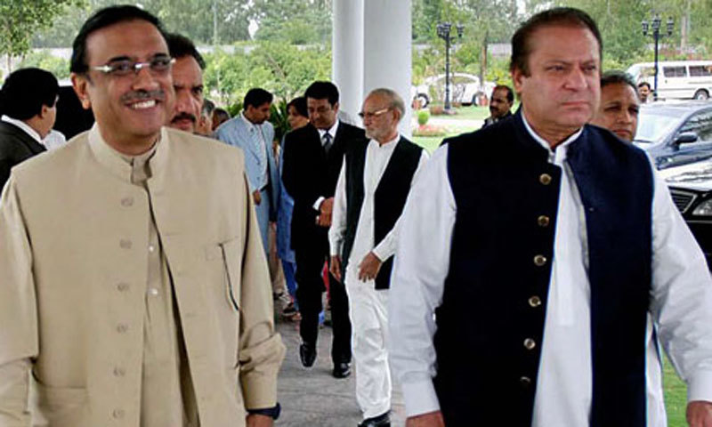 The reference states that Zardari, Nawaz obtained cars from Toshakhana by paying 15pc of actual price.  — APP/File