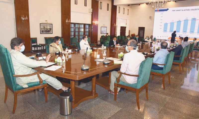 Chief Minister Syed Murad Ali Shah presides over a meeting held to work out budget priorities for financial year 2020-21 at the CM House on Saturday. — PPI