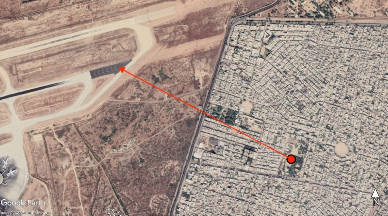 The plane crashed less than a kilometre from the runway at the Karachi airport. — Dawn.com via Google Earth