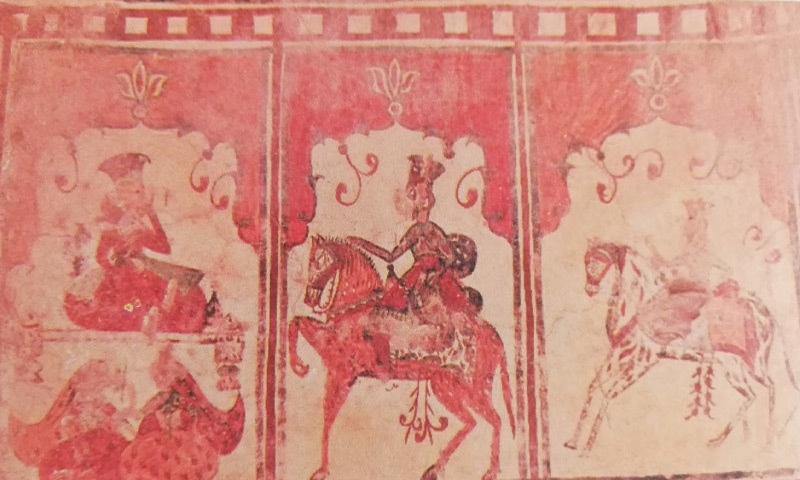 Fresco paintings on interior walls of Bachal Faqeer Birahmani (Dadu) depicting horse riders in Mughal attire, a prince seated on a takht [bench] and two women