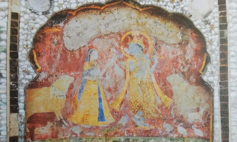 Fresco at Lahore Fort, Shish Mahal, shows Krishna playing the flute with Radha. The animals in the fresco hold symbolic significance to the story