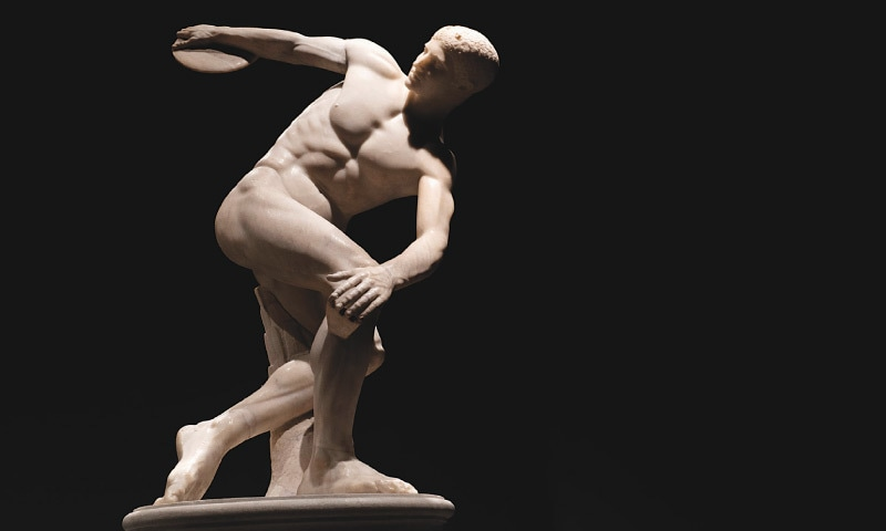 The Discobolus of Myron, a Greek sculpture of an athlete throwing the discus, created about 460–450 BC