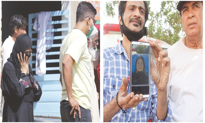 A woman arrives to identify the body of a family member killed in Friday's plane crash at a morgue whereas a man (right) shows the photo of his relative outside the mortuary to receive the body on Saturday.—Agencies