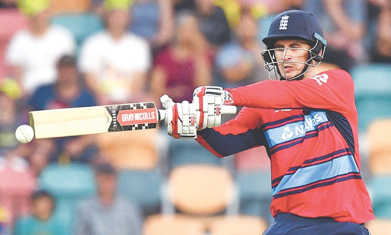 ALEX Hales finds support from Chris Woakes.—AFP
