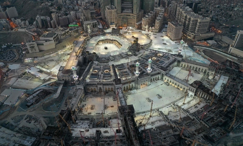 This picture taken on May 24, 2020 during the early hours of Eidul Fitr shows an aerial view of the Grand Mosque and the Holy Kaaba in the centre of Saudi Arabia's holy city of Makkah. — AFP