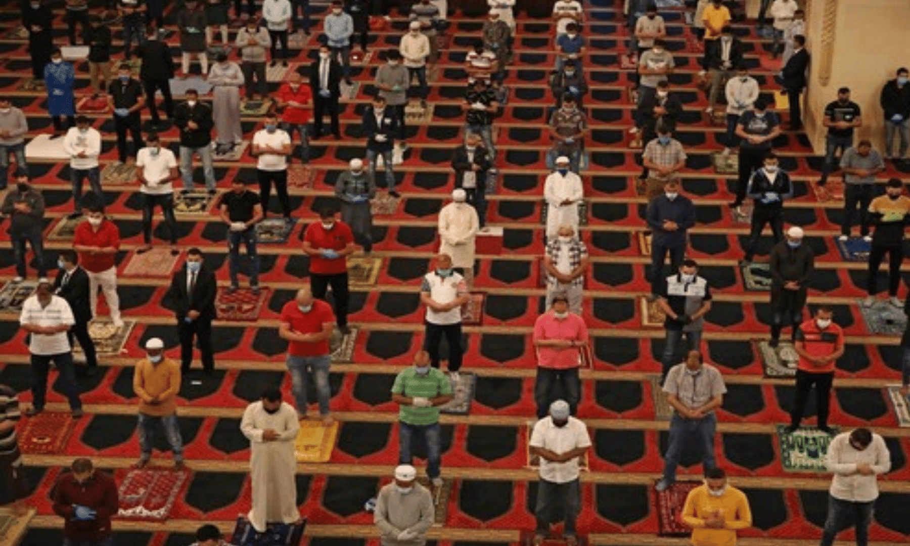 Muslims observe social distancing while offering the Eidul Fitr prayers in a mosque in Lebanon. — Reuters