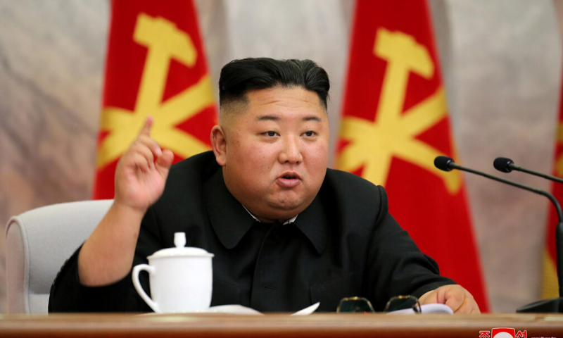 North Korean leader Kim Jong Un speaks during the conference of the Central Military Committee of the Workers' Party of Korea in this image released by North Korea's Korean Central News Agency (KCNA) on Saturday. — Reuters via KCNA