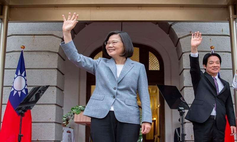 This handout picture taken and released on May 20 by the Taiwan Presidential office shows Taiwan's President Tsai Ing-wen (C) and Vice President William Lai waving during an inauguration event for their respective terms in office, at the Taipei Guest House in Taipei. — AFP/File