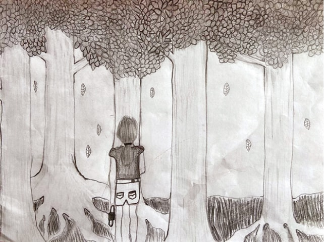 """MELBOURNE: A drawing by Niki Jolene Berghamre-Davis, 11, shows her facing the forest and the future, while holding a mask so that she is prepared. According to Niki, the leaves represent those who have died from the coronavirus, while the tree roots represent """"possibility"""". A big fan of nature, Niki is hopeful that the shutdowns are teaching the world how to live in ways that will help the environment.—AP"""