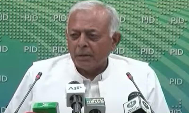 Federal Aviation Minister Ghulam Sarwar Khan addresses a press conference in Islamabad. — DawnNewsTV