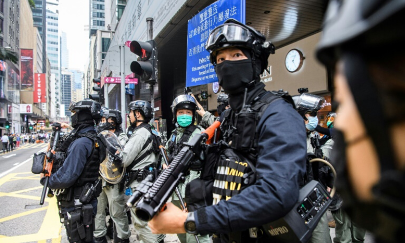 Riot police in Hong Kong have arreatsed hundreds of people in recent days to ensure there are no widespread protests. — AFP