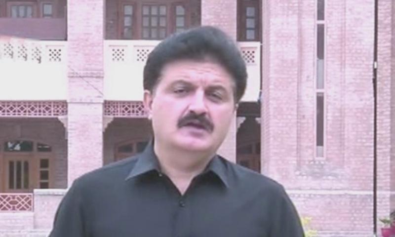 Ajmal Wazir addressing the media. — DawnNewsTV