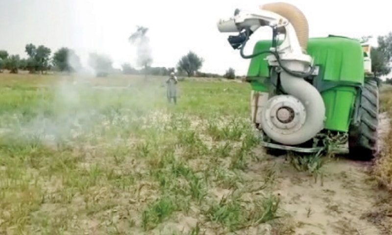 Anti-pest spray being carried out in a field in Lakki Marwat. — Dawn