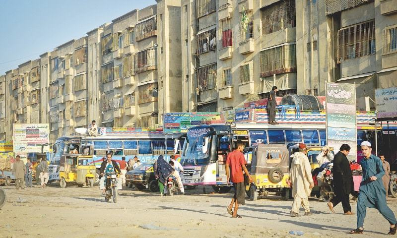 Three bus terminals have been notified for Karachi division. — Dawn/File