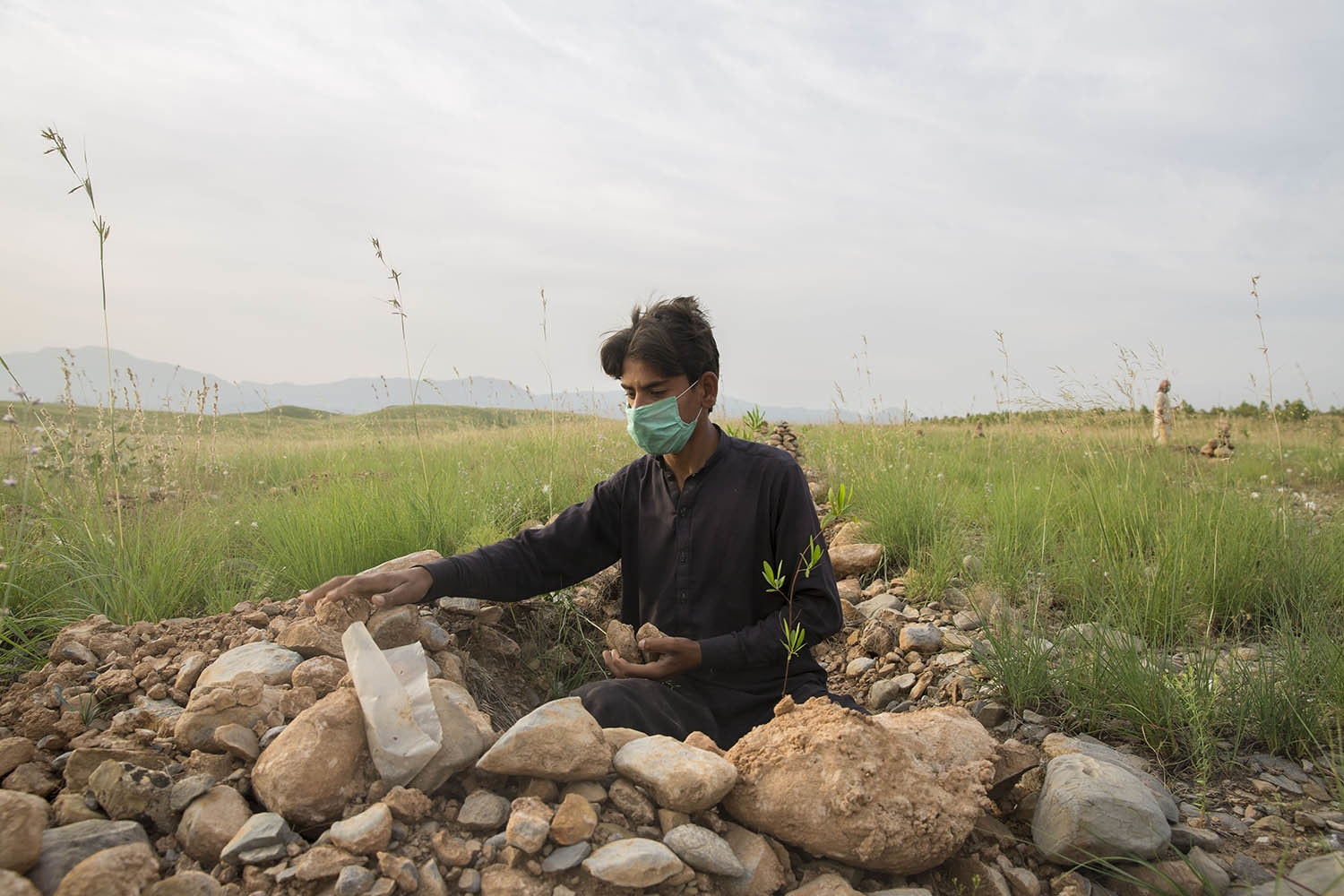 Abu Hurera, who is currently out of school because of Covid-19, tends to plants while working for the government's initiative to plant 10 billion trees, May 11, 2020, in Azakhel Mattani.