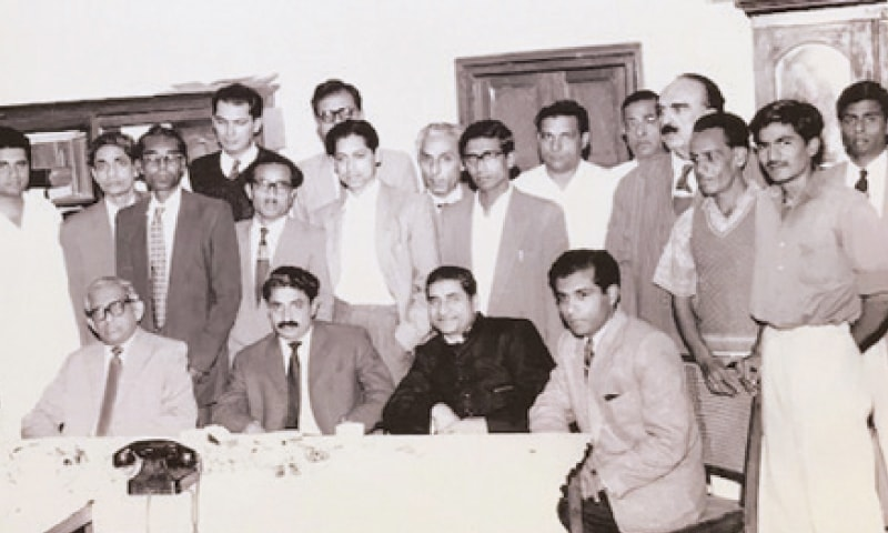 Mr Sami Ahmad in black sherwani; Mr Altaf Husain sitting extreme left.—Picture provided by Mr Jaleel Hamid Zubairi