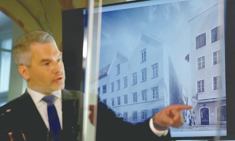 Vienna: Austrian Interior Minister Karl Nehammer, speaking at a press conference, presents a plan chosen for an architectural redesign of the house Adolf Hitler was born in.—Reuters