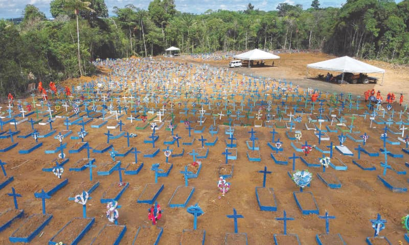 BRASILIA: An aerial view of the Nossa Senhora Aparecida cemetery in Manaus, where Covid-19 victims are buried daily.—AFP