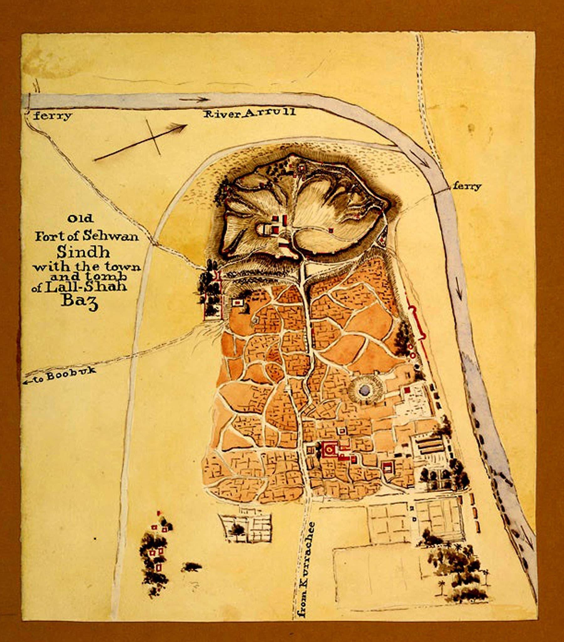 سیہون قلعے کا ایک پرانا نقشہ