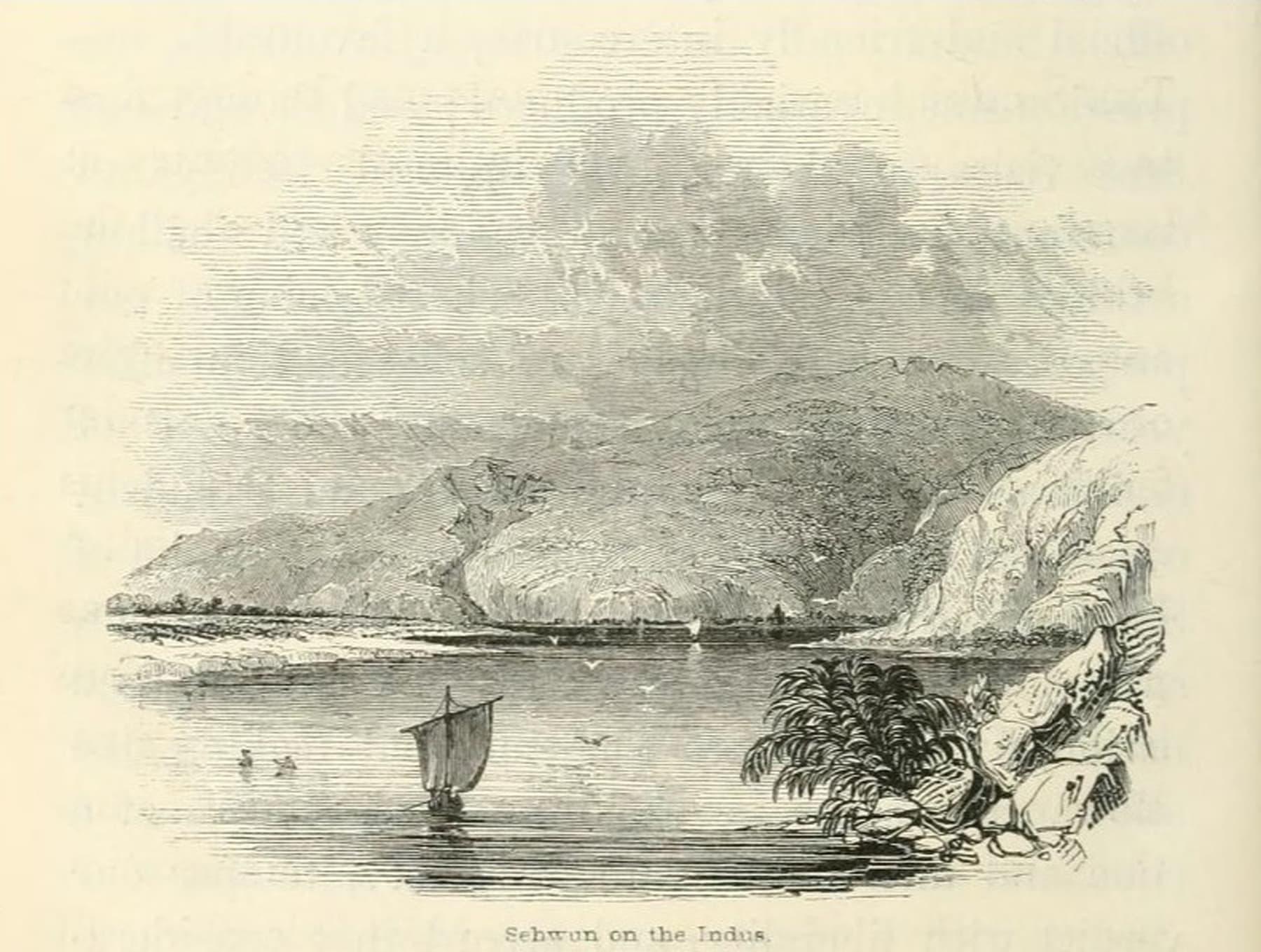 الیگزینڈر برنس 1837ء میں اپنی کتاب Voyage on the Indus میں لکھتے ہیں کہ 'یہ انتہائی عجیب عمارت جو دریائے سندھ کے کنارے پر واقع ہے وہ سیہون کا قلعہ ہے