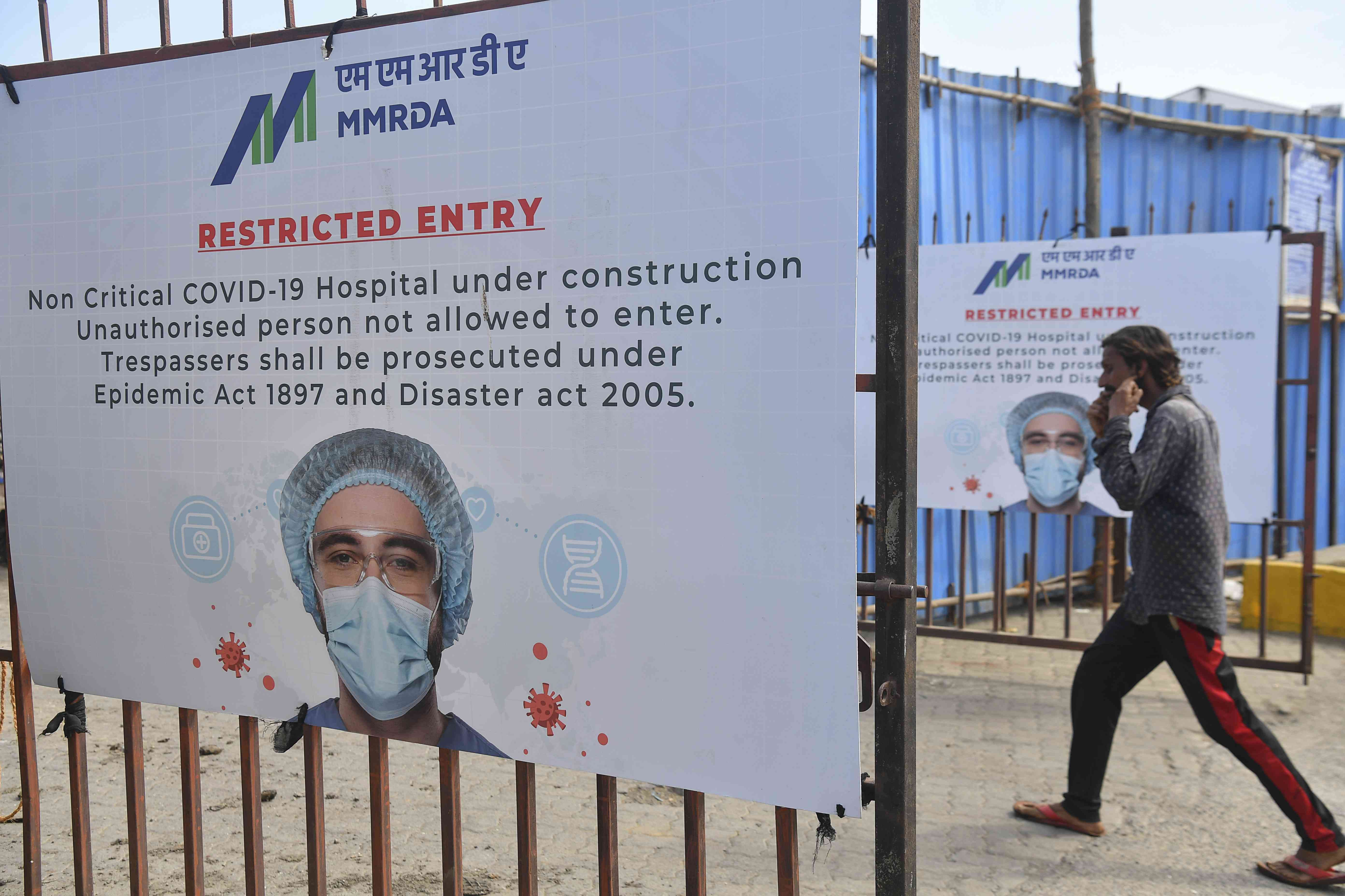 A temporary hospital for non-critical Covid-19 patients under construction. — AFP