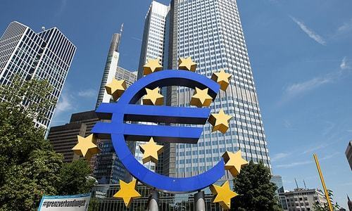 Euro rises as European Central Bank adds another 600 billion euros to its already gigantic stimulus war chest. — AFP/File