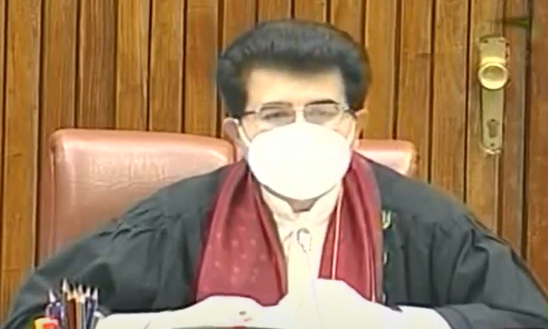 Senate Chairperson Sadiq Sanjrani presides over Senate session. — DawnNewsTV