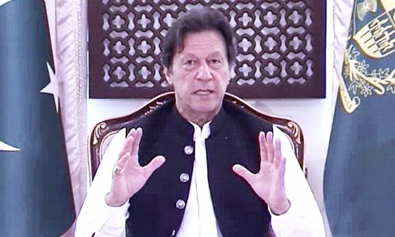 Prime Minister Imran Khan addressing Corona Relief Tiger Force volunteers on Friday. — DawnNewsTV