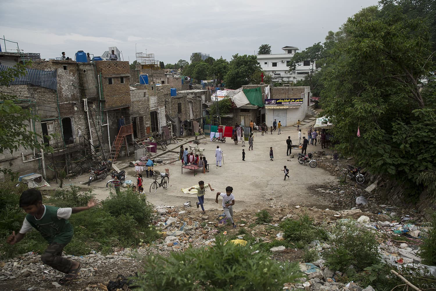 Children play in French colony, an urban slum that primarily houses the Christian community, May 3, 2020, in Islamabad.